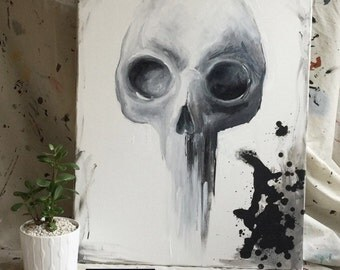 Abstract Expressionist Original Acrylic Skull on Canvas