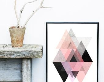 Triangle Wall Art, Pink And Grey Art, Scandinavian Design, Geometric Print,  Geometric Art Print, Giclee print, Wall Art, Poster, Wall Decor