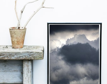 Cloud Art Print, Abstract Art, Black And White Art, clouds Wall art,  Minimalist Art,  Giclee print, Wall Art, Home Decor, Wall decor