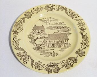 Vintage Royal Bucks County Dinner Plate, Sebring Ohio Underglaze Pattern, 1950's china