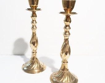 Vintage Brass Candle Holders, Large Tall
