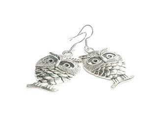 Owl Dangle Earrings - Antique Silver Owl Charm Earrings