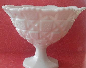 Vintage Westmoreland Quilt Pattern White Milk Glass Compote Footed Bowl Pedestal Dish