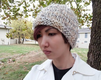 White Loop Knitted Hat