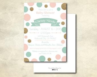 Sage, Gold and Pink Bridal Shower Invitation