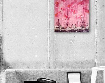 "Abstract Painting Pink Painting Pink Abstract Art Original Painting ""PinkSky"" fine art painting art by Michel Cekalovic"