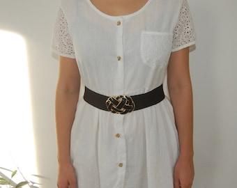 White Babydoll Dress with Eyelet Sleeves