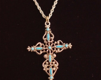 Two Vintage Mid Century MCM Crucifix Cross Pendant Necklaces