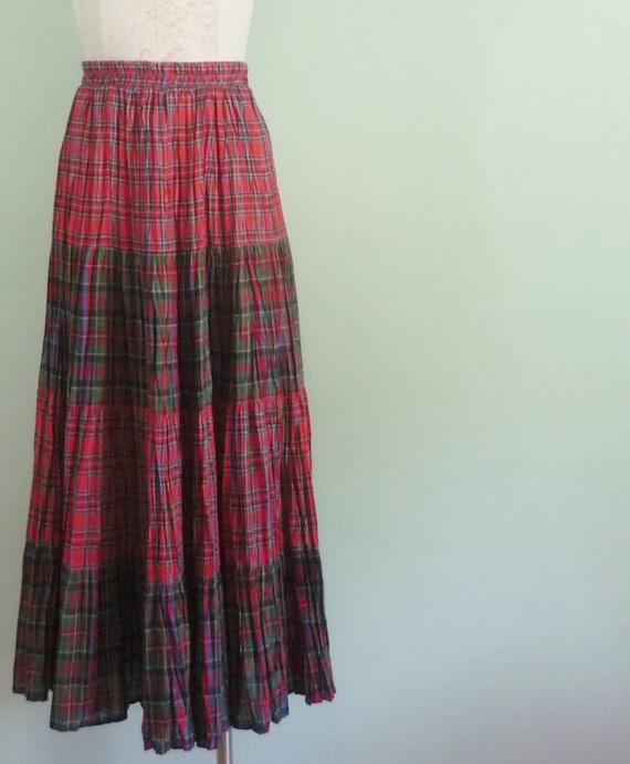 1960s Tartan Skirt / Mid Century Maxi / Plaid Prairie Skirt / Orvis / Modern Size Extra Small XS to Small S