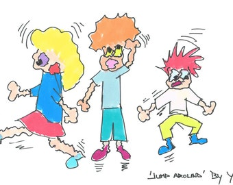 Cheerful, colorful print by drawing. Kids.