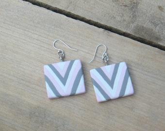 Chevron Earrings, Easter earrings, Pink Earrings, Geometric jewelry, Wooden Earrings, Modern earrings, Boho chic, Handmade earrings, Gray