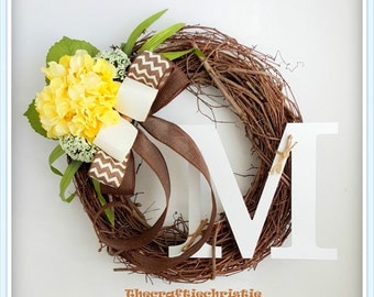 Front Door Wreaths-Hydrangea Wreath-Spring Hydrangea Wreath-Front Door Decoration-Monogram Spring Wreath-Wreaths for Sale-Initial Wreath