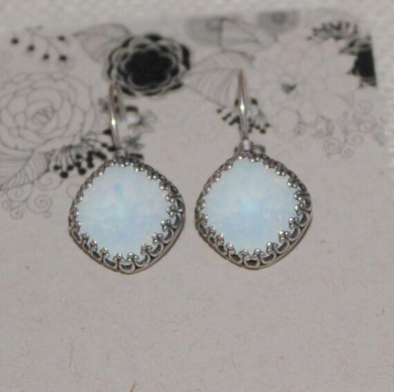 12mm Cushion Cut Swarovski Crystal Earrings featuring Crown Set White Opals