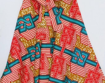 African Print Circle Skirt with Sash, Free Domestic Shipping