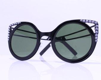 Oversized Round Cat Eye Sunglasses made with 24 BLACK Swarovski Crystals