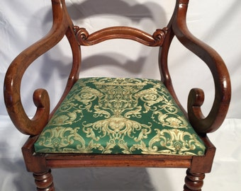 Antique Arm Chair 18th Century 200+ Years Old Rolled Arm Scrolled Back Elegant Conversation Piece