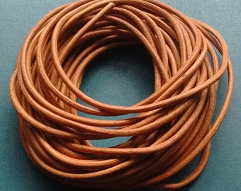 2mm Genuine Leather Cord 5M Light Brown - LC4005