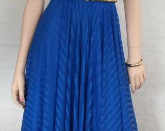 Pinafore / dress / cornflower blue / semi-transparent / vintage / 1980