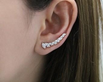 Crystal Ear Climber Earring, Long Crystal leaf Ear Crawler, Ear Sweep, Crystal Ear Climber, Crystal Ear Crawler, Bride Ear Climber, Long CZ