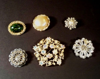 Vintage Rhinestone Brooches - Destash ~ LOT OF 6 ~ LOT142 Earring Destash, Earrings for Crafts, Jewelry Destash