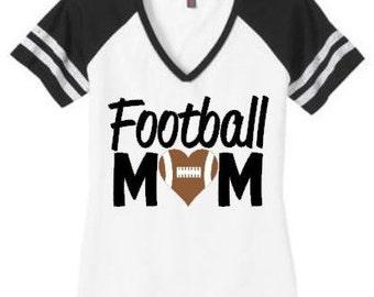 Football mom shirt, Football mom top, Football Heart shirt, Football Mom heart, sports mom shirt, mom spirit shirt, Football shirt