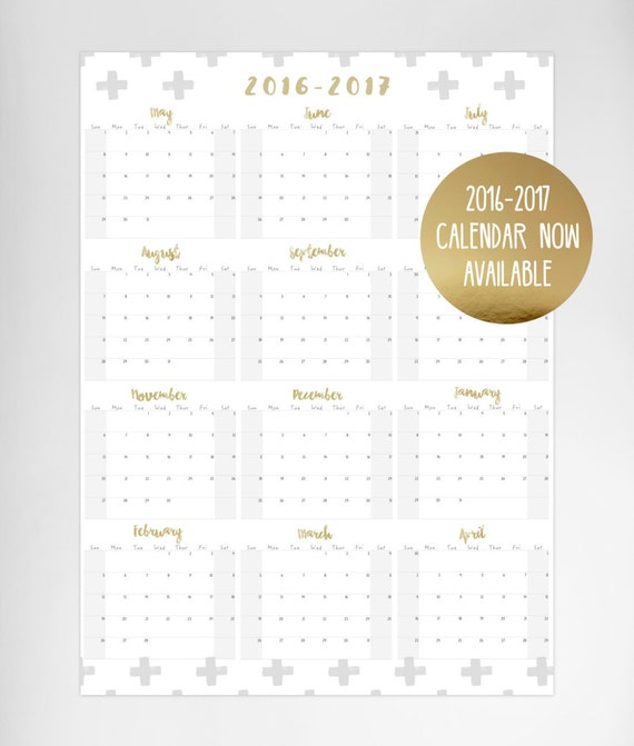 2016-2017 XL Yearly Calendar / Wall Planner - A1 Size (Gold ...