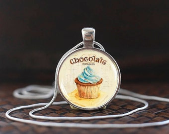Chocolate Cupcake Necklace, Cupcake Pendant, Cupcake Jewelry, Chocolate lover gift, Cupcake Lover, glass dome pendant