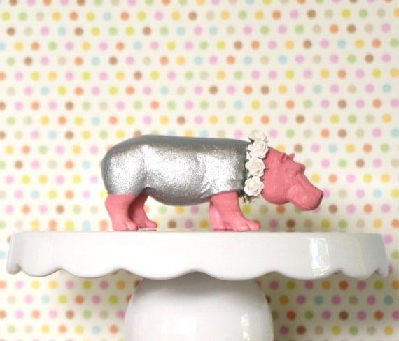 Animal Cake Topper Hippo Nursery Hippo Baby Zoo by ...
