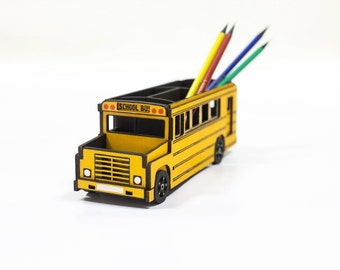 Unique desk  storage for crafts, stationery & pens holder 'School bus' office desktop organizer