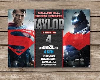 Batman vs Superman Invitation, Batman vs Superman Birthday Party, SuperHero invitation, Superman invitation, Super Hero invite