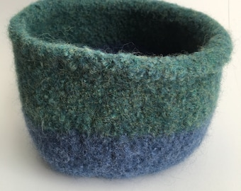 Felted Bowl - blue green