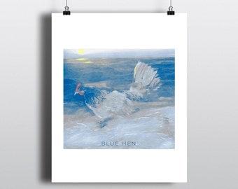 Blue Hen Delaware State Bird Print Digital Printable