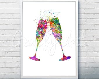 Champagne Glass Watercolor Art Print  - Kitchen Watercolor Art Painting - Champagne Poster - Kitchen Decor - Home Decor - House Warming Gift