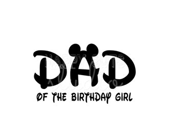 Dad of the Birthday Girl Boy / Mickey and Minnie Mouse Ears with Bow Classic Party Matching Family Disney Iron On Decal Vinyl for Shirt 054
