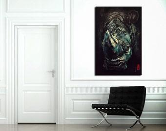 """ORIGINAL Rhino Acrylic Painting - 24"""" x 36"""""""