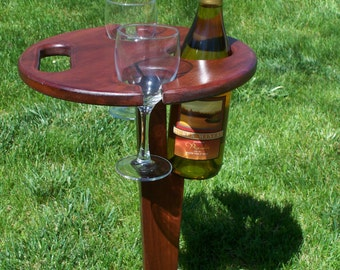 Cherry Folding Wine Table with Optional Patio Stand