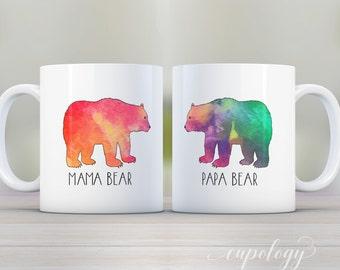 Mug Set, Mama Bear and Papa Bear, Bear Mugs, Coffee Mugs, Baby Shower Gift, Gift for mom and dad, Mama Bear, Papa Bear