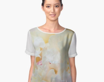 Ethereal Blouse ~ Floral Short Sleeve Women's Shirt, Creamy Yellow Chiffon Top, Silky Top, Delicate Blouse, Peony Photo, White Feminine Top