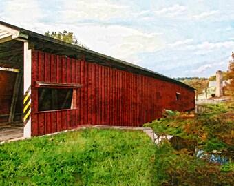 Covered Bridge, Jackson's Sawmill Covered Bridge, Bridges of Lancaster County, Historic Bridges, Pennsylvania, Wall Art, Available on Canvas