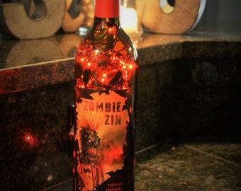 Zombie Zin wine bottle light, zombie lamp, zombie light, zombie wine bottle light, zombie wine bottle lamp, wine bottle light, wine light
