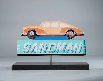 Sandman Auto Neon sign photo / mid century motel sign / vintage neon sign / 50's decor / route 66 art / Modern decor / retro art/ reno