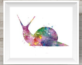 Snail Art Print Watercolor Snail Painting Animal Watercolor Art Kids Room Decor Wall Art Print Home decor Gift For Mom Digital Download