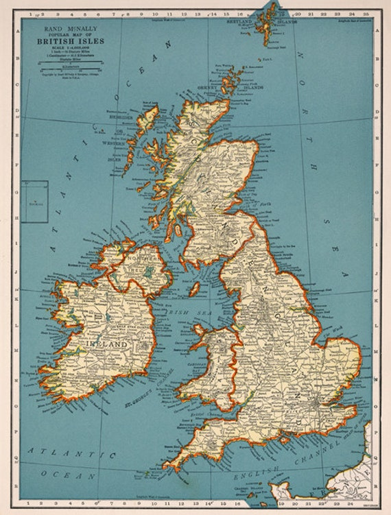 Vintage british isles map digital downloadengland map instant vintage british isles map digital downloadengland map instant digital downloadintable mapautiful old map englandp home decor gumiabroncs Gallery