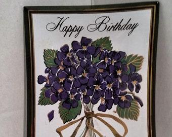 Pretty  Vintage Flowered Birthday Trinket Dish