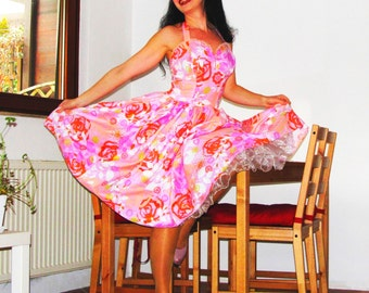 Pinup dress 'Weekend in Pink Roses' READY TO SHIP, One of a kind Rockabilly dress, S, M
