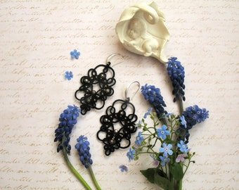 Black Chandelier earrings Bell Lace earrings Stylish jewellery Tatting jewelry Party earrings Tatted lace Gift for woman Statement earrings