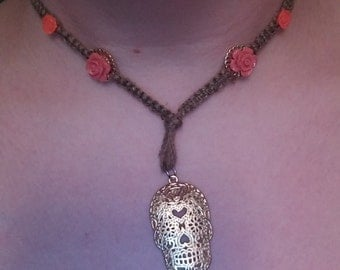 Gold Sugar Skull with Roses Hemp Necklace