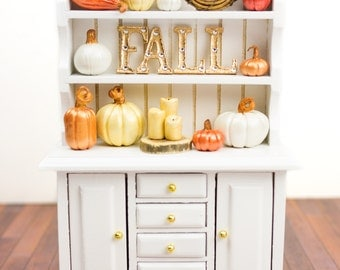Luxury Fall Metallic Pumpkin Cupboard - Elegant Autumn Decorative White Hutch - 1:12 Dollhouse Miniature