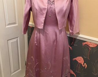 Vintage Glamour ~ 1950s embroidered evening dress with matching bolero jacket ~ STUNNING!