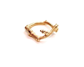 Solid Gold Stackable Twig Ring (Style No. 2), Gold twig ring, 14k tree ring, Gold Stackable ring, gold bone, 14k branch ring, forest ring